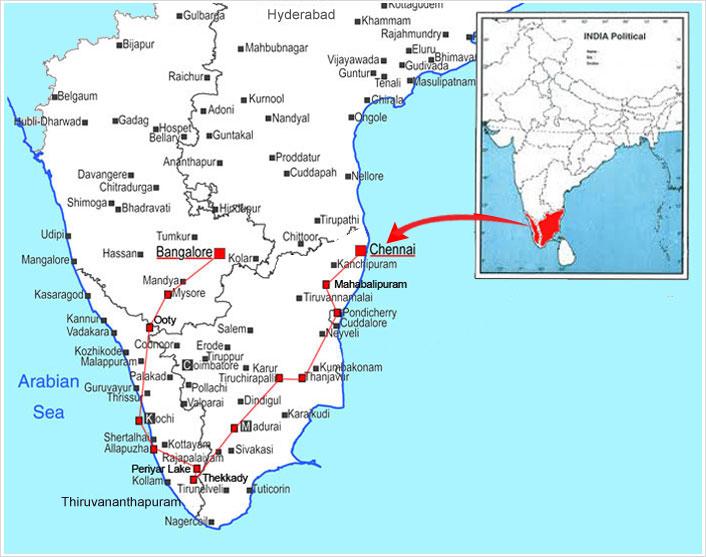 Ooty In India Map.South India Mahabalipuram Pondicherry Thanjavur Trichy Madurai