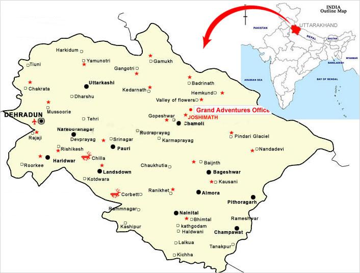 India Map Uttarakhand